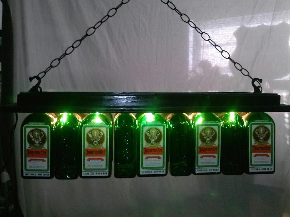 Jagermeister Pool Table Light Chandelier Liquor Bottle