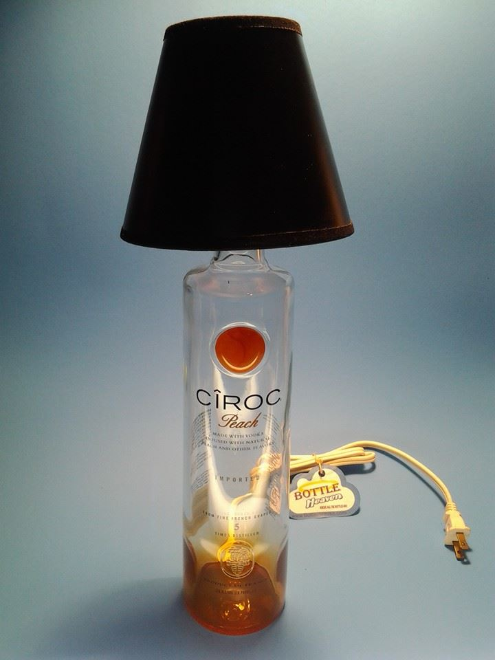 cicoc peach liquor bottle table lamp w black shade. Black Bedroom Furniture Sets. Home Design Ideas