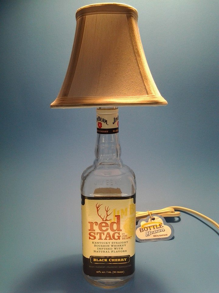 Jim Beam 174 Red Stag Liquor Bottle Table Lamp W White Shade