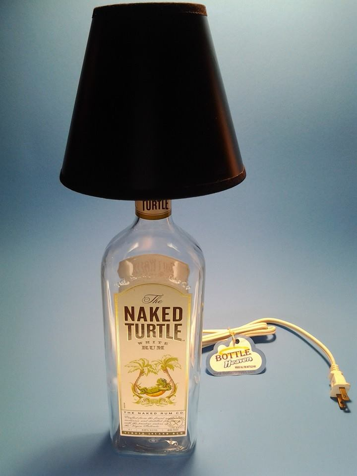 The Naked Turtle White Rum Liquor Bottle Table Lamp W Black Shade