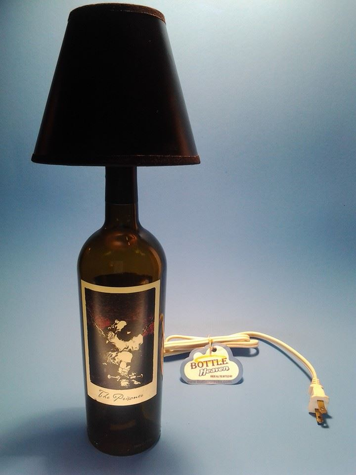 The Prisoner Wine Bottle Table Lamp W Black Shade Liquor Bottle