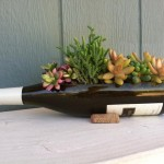 Brown Wine Bottle Planter Pot