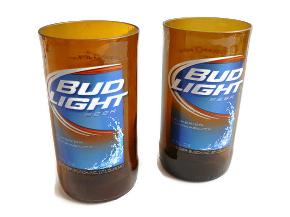 Bud Light Beer Bottle Glass Tumblers