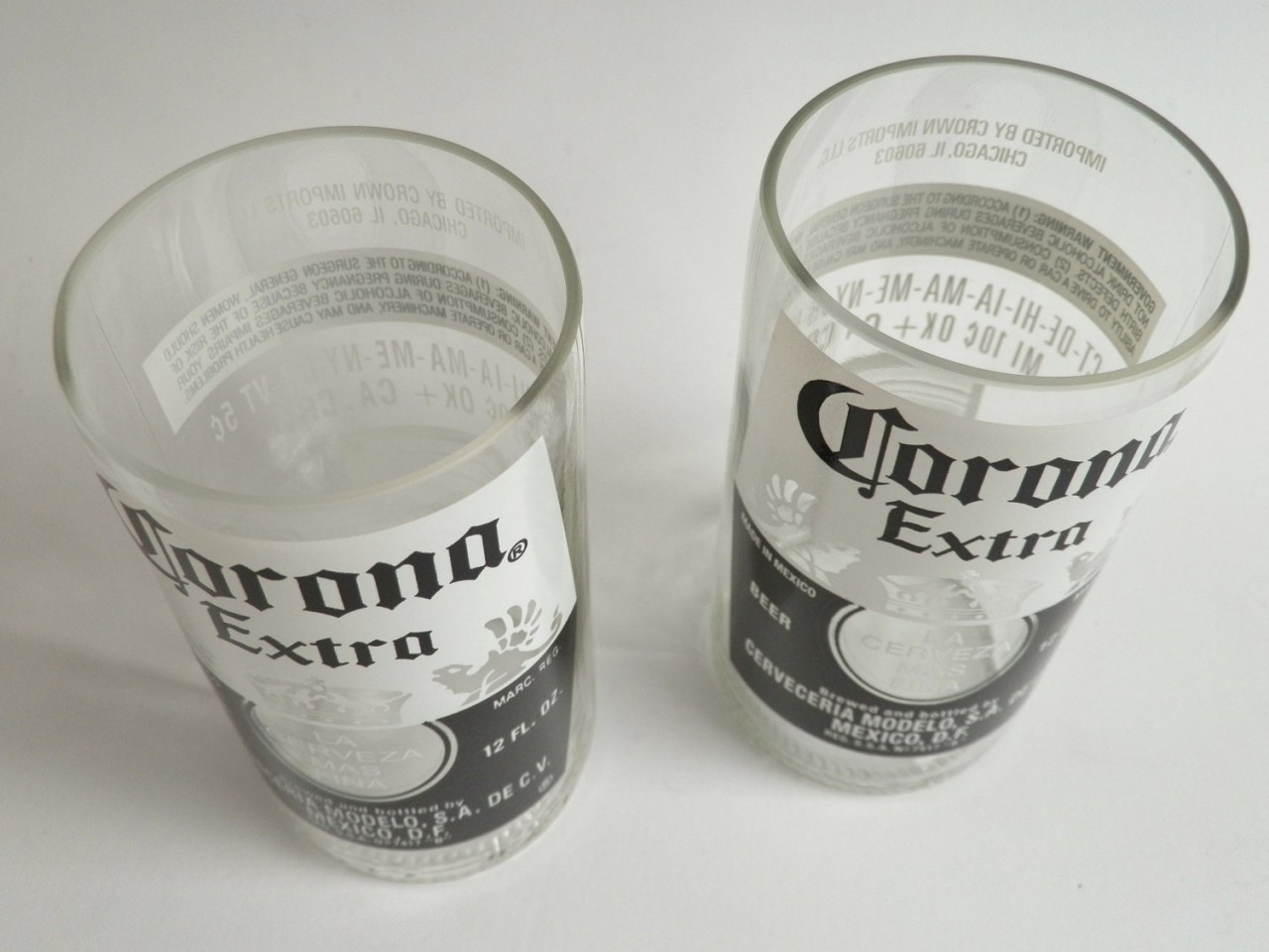 Corona extra set of 2 beer bottle glasses liquor for How to make corona glasses