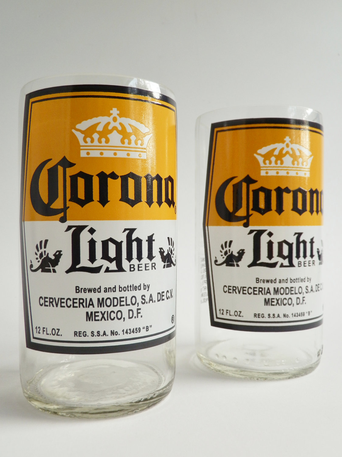 Corona Light ( Set of 2) Beer Bottle Glasses - Liquor ...