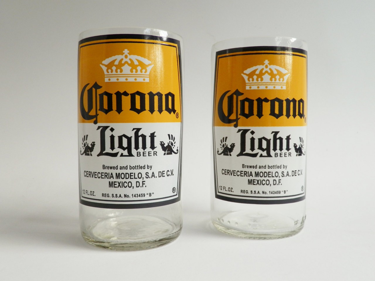 Corona Light Beer Bottle Glass Tumblers 2