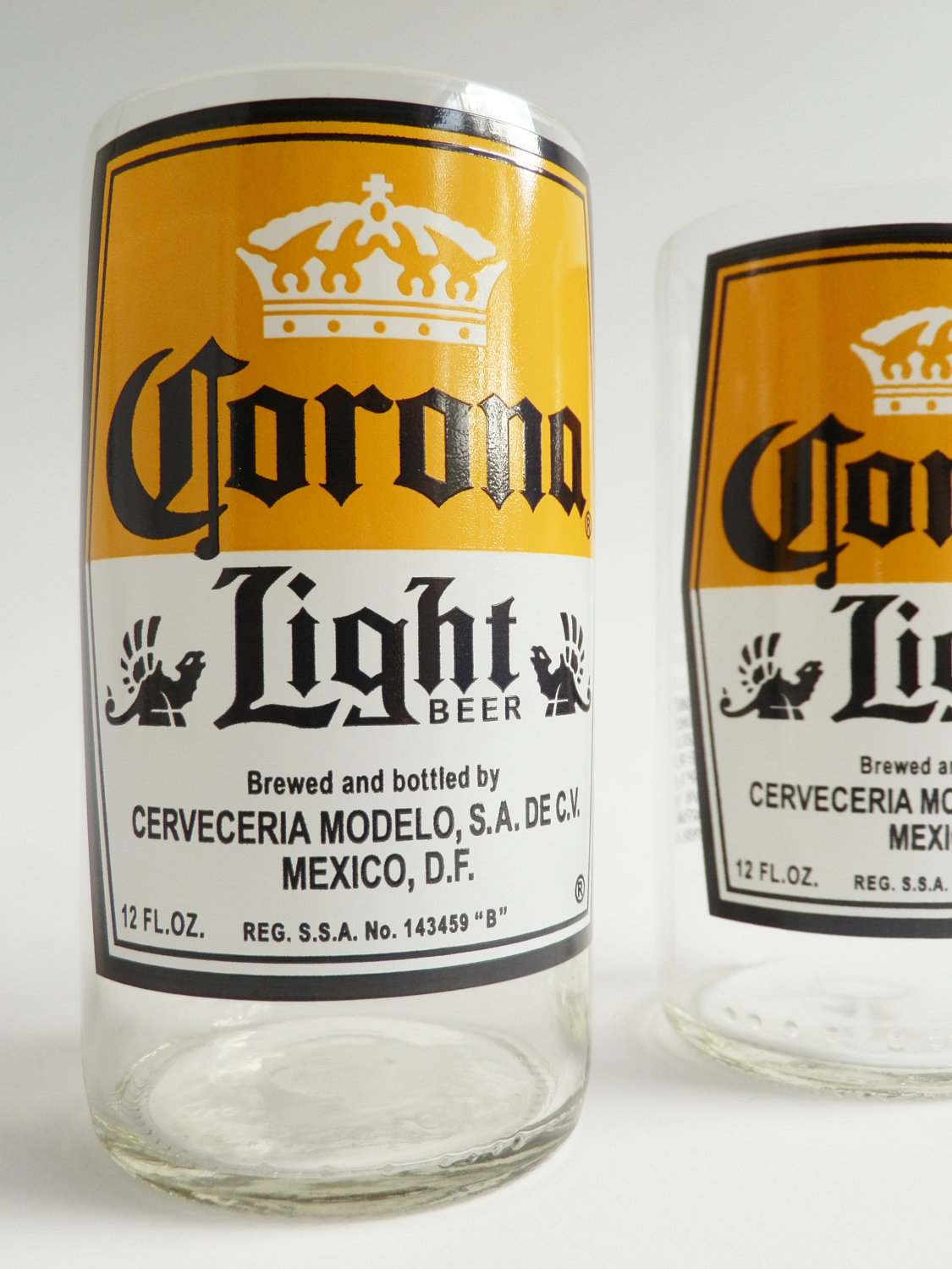 Corona Light Beer Bottle Glass Tumblers 3
