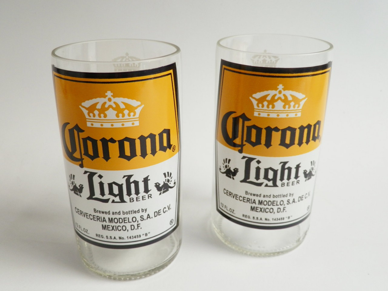 Corona light set of 2 beer bottle glasses liquor for How to make corona glasses