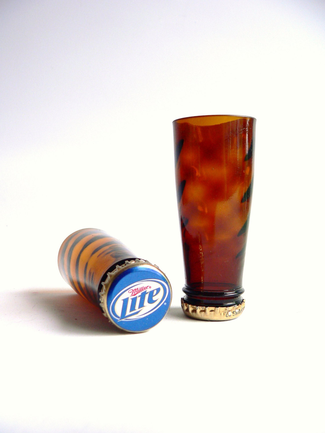 Set of 2 miller light shot glass made from recycled beer for Making glasses from bottles