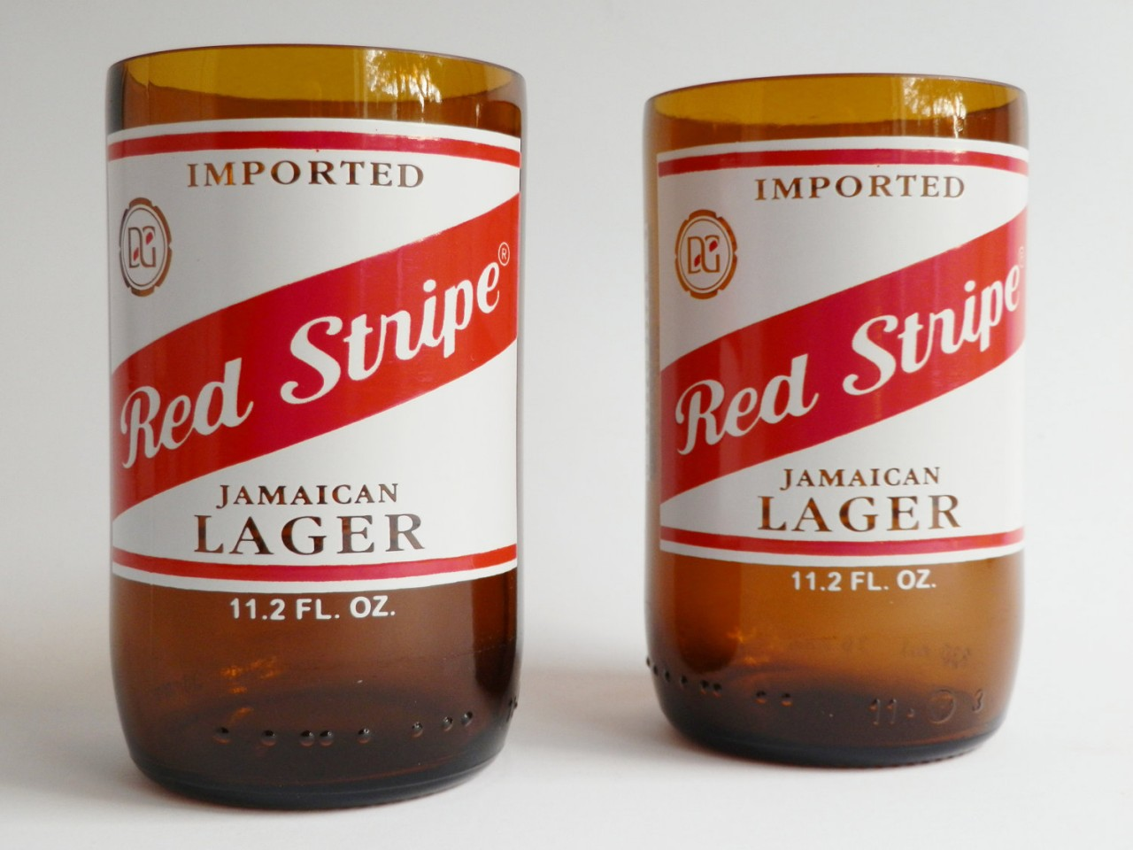 Red Stripe Beer Bottle Glass Tumblers1