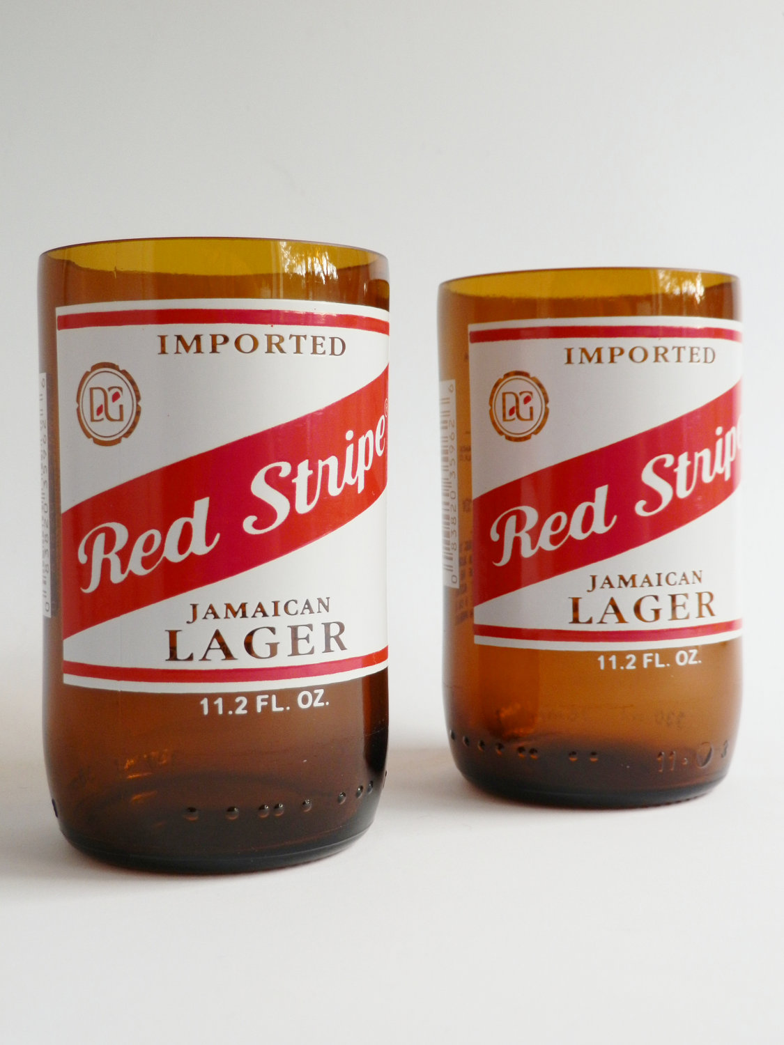 Red Stripe Beer Bottle Glass Tumblers2