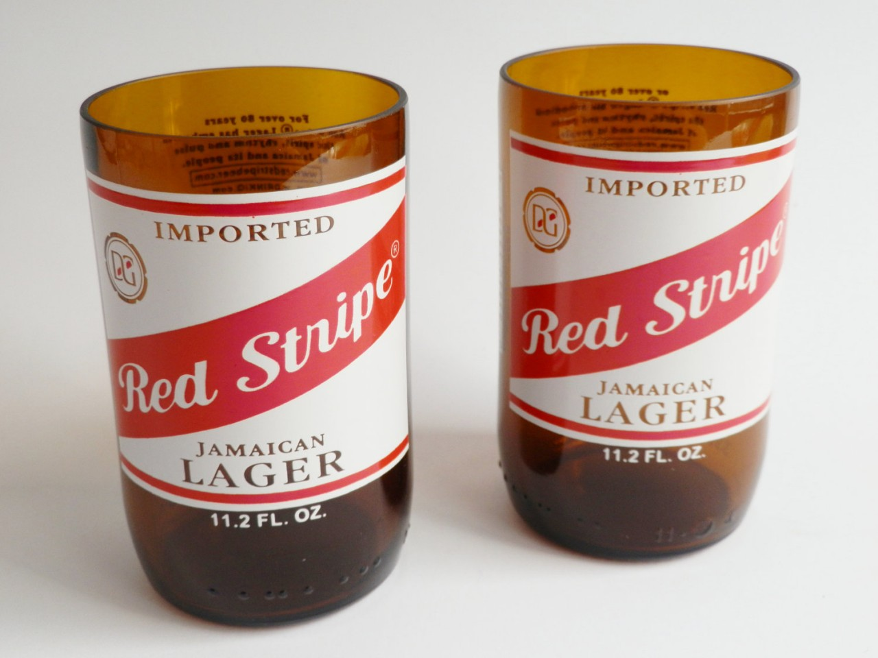 Red Stripe Beer Bottle Glass Tumblers3